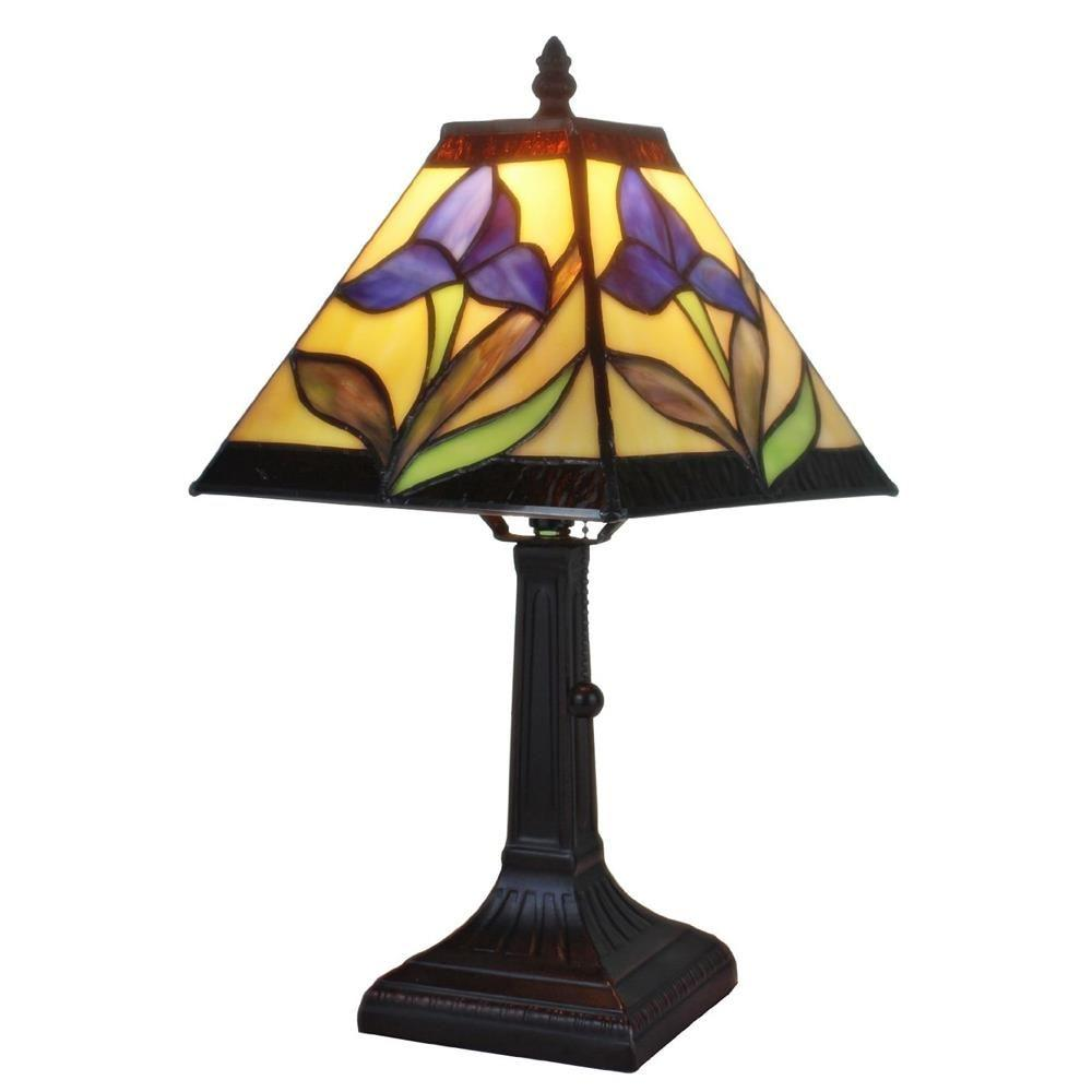14.5 in. Tiffany Style and Purple Mission Design Mini Table Lamp