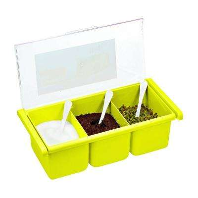 3-Compartment Acrylic Lime Green Seasoning Box