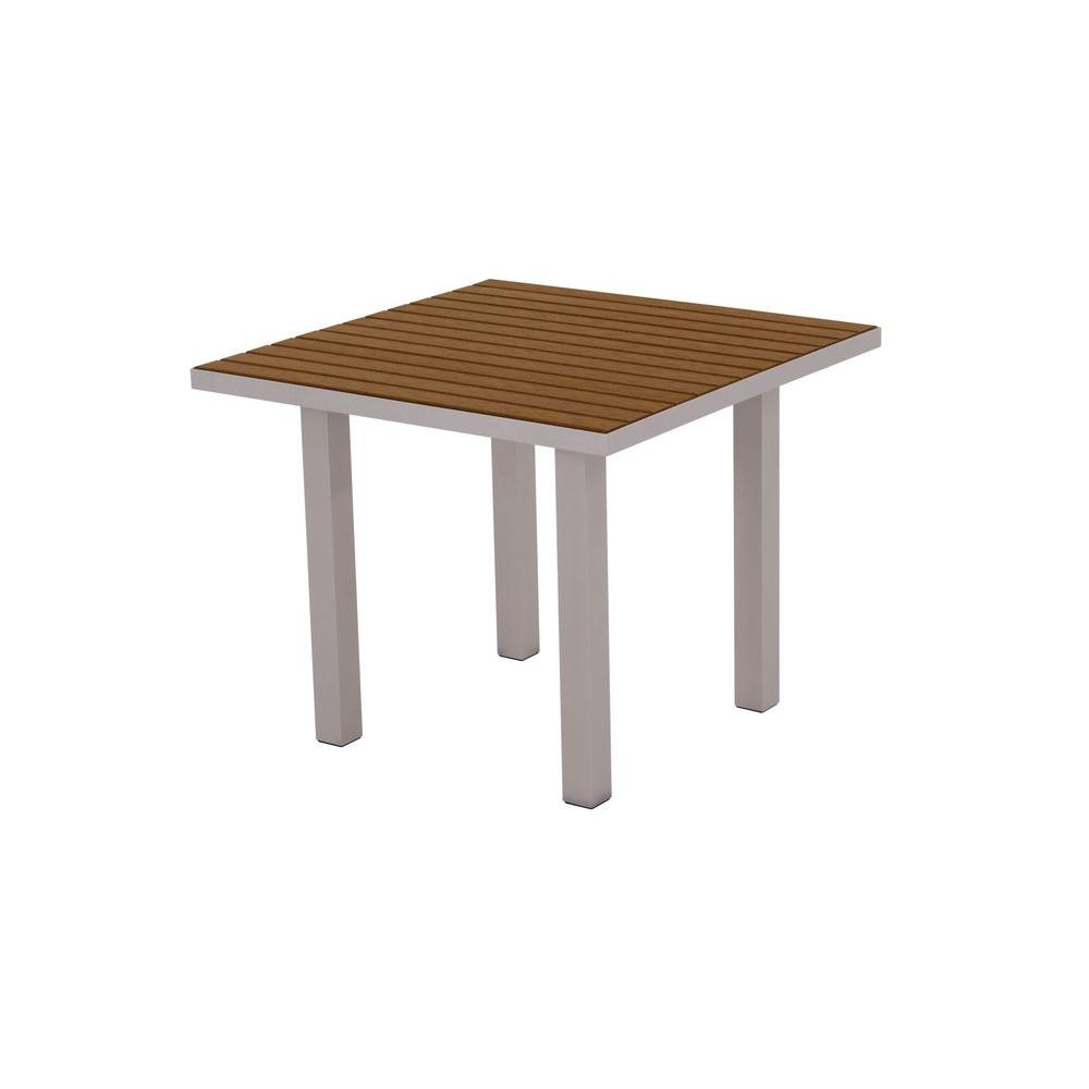 Euro Textured 36 in. Silver Square Patio Dining Table with Teak