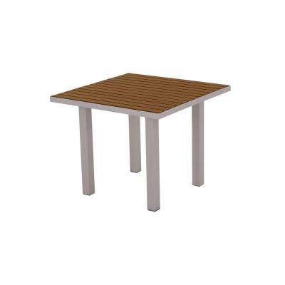 Euro Textured 36 in. Silver Square Patio Dining Table with Teak Top