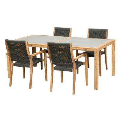 Sienna and Madsen Teak 5-Piece Acacia Wood Outdoor Patio Dining Set