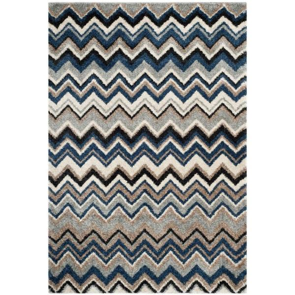 Reviews For Safavieh Tahoe Grey Light Blue 5 Ft X 8 Ft Area Rug Tah477d 5 The Home Depot