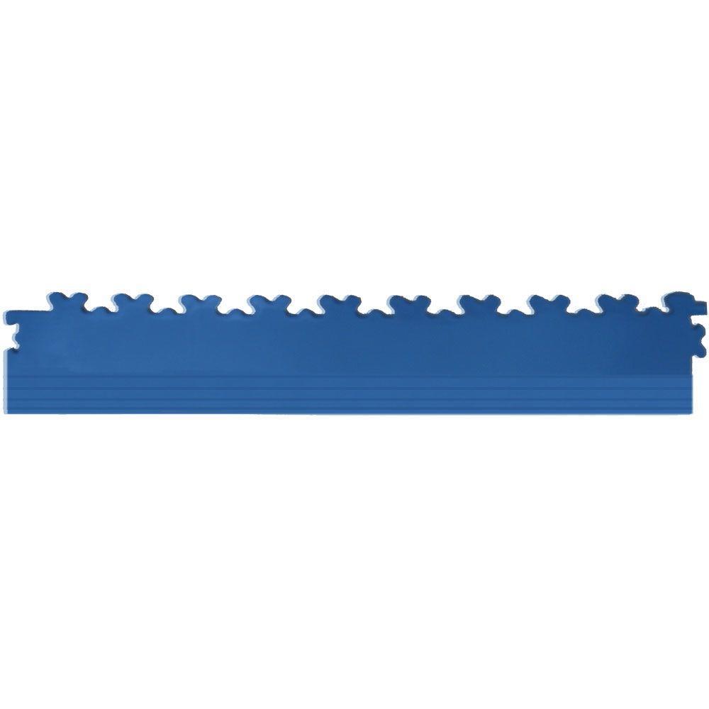 IT-tile 20-1/2 in. x 2-1/2 in. Diamond Plate Dark Blue PVC Tapered Interlocking Multi-Purpose Flooring Tile Edges (4-Pack)