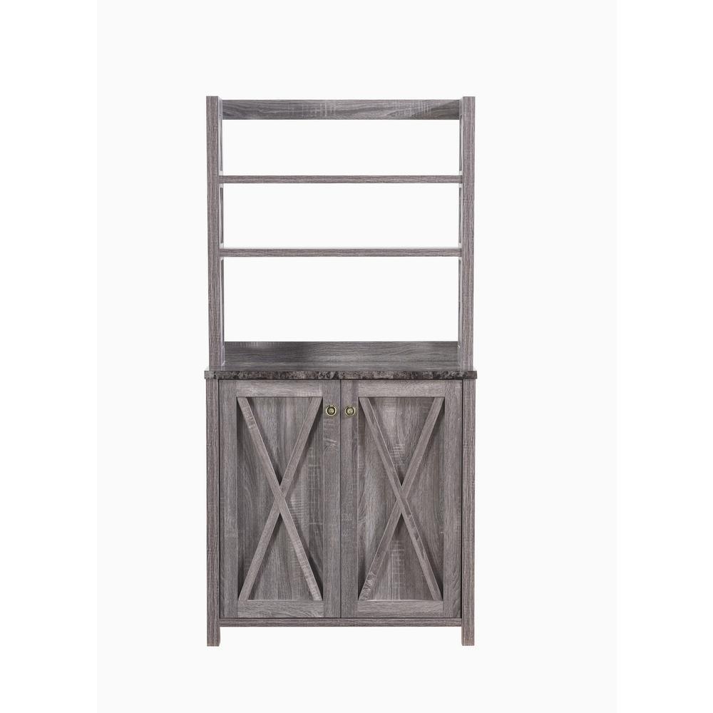 Rubino Dark Gray Baker Rack With Double Doors