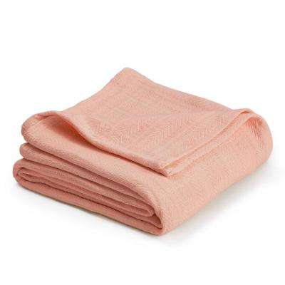 Woven Light Peach Cotton Twin Blanket