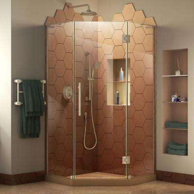 Prism Plus 34 in. W x 34 in. D x 72 in. H Semi-Frameless Neo-Angle Hinged Shower Enclosure in Brushed Nickel Hardware
