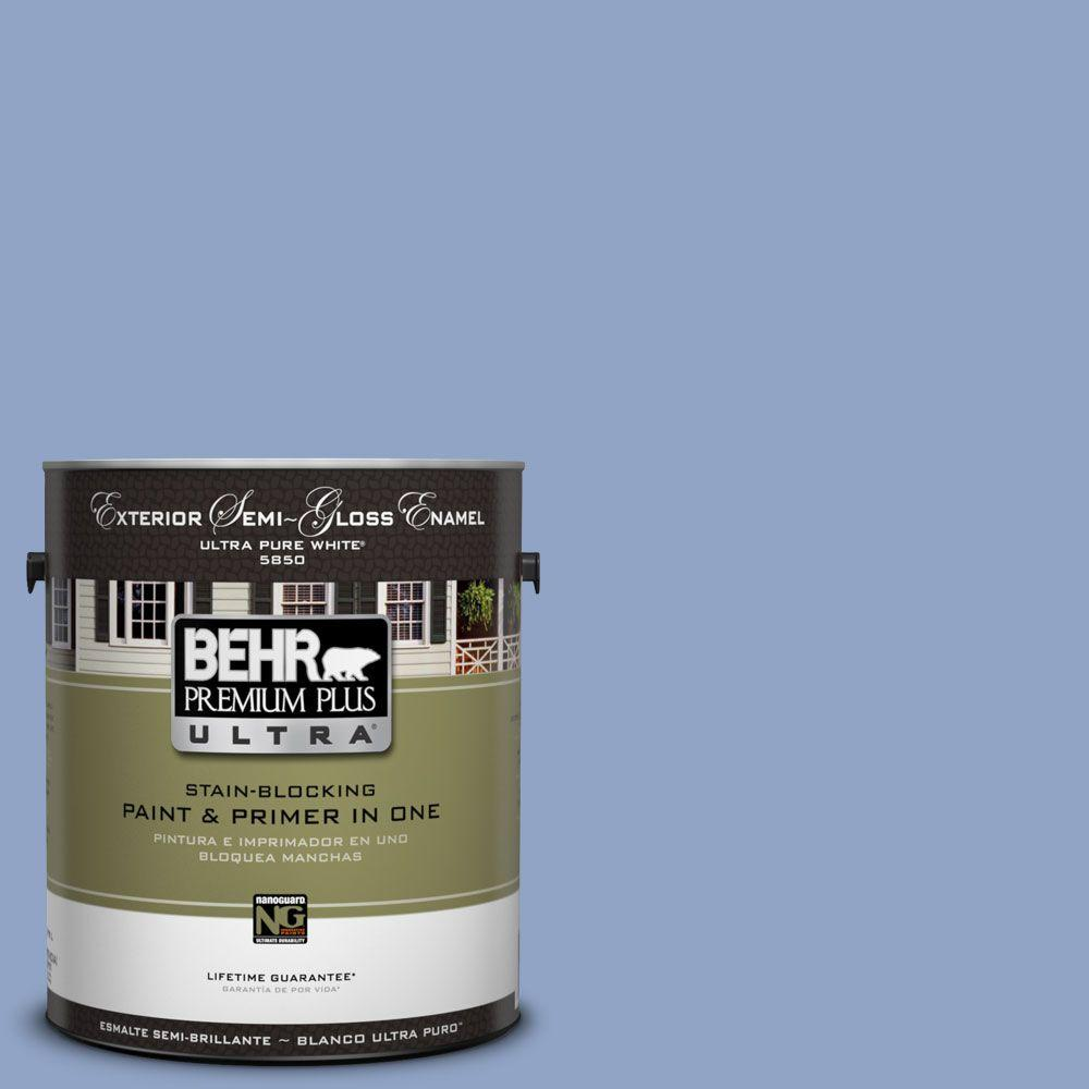 BEHR Premium Plus Ultra 1-Gal. #UL240-16 Blue Hydrangea Semi-Gloss Enamel Exterior Paint