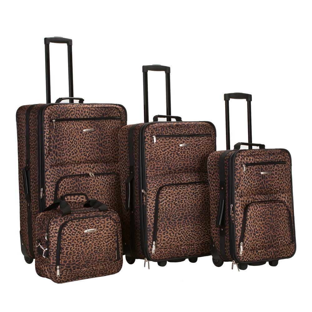 Rockland Expandable Jungle 4-Piece Softside Luggage Set, Leopard