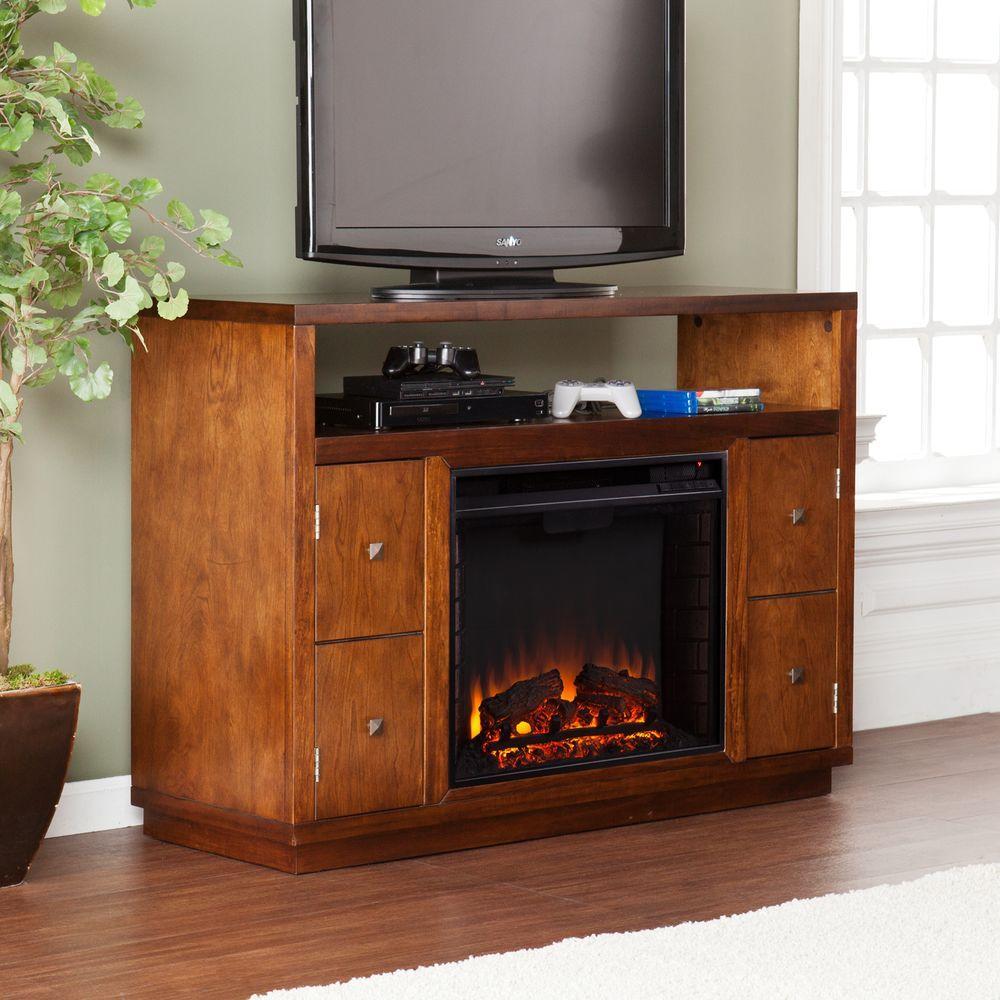 Adan 47.75 in. Freestanding Media Electric Fireplace in Dark Tobacco