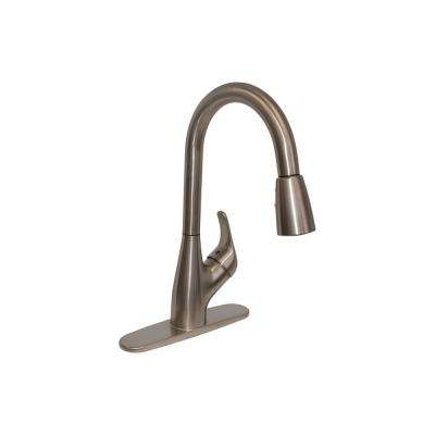 Single Handle Pull Down Sprayer Kitchen Faucet In Brushed Nickel