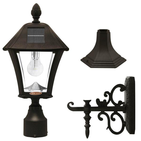 Baytown Bulb Outdoor Black Integrated LED Solar Post Light with Pier and Wall Mounting Options