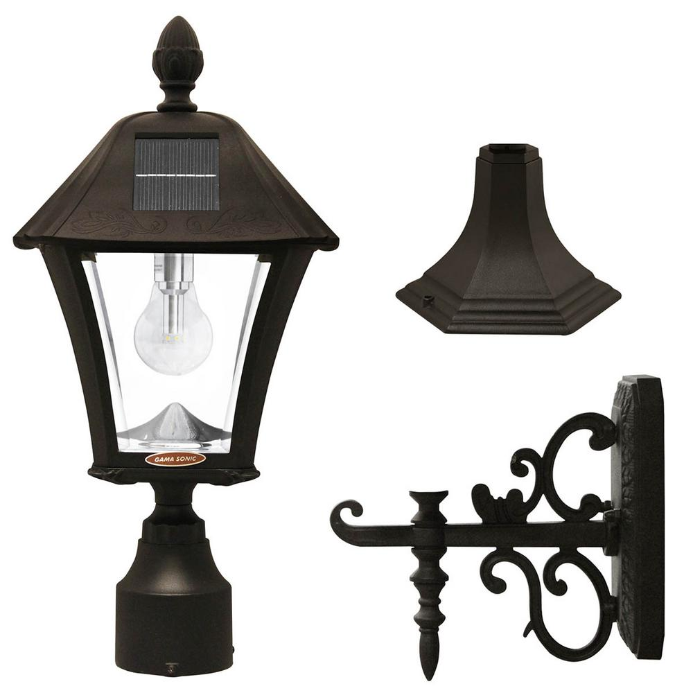 GamaSonic Gama Sonic Baytown Bulb Outdoor Black Integrated LED Solar Post Light with Pier and Wall Mounting Options