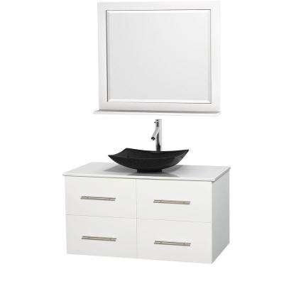 Centra 42 in. Vanity in White with Solid-Surface Vanity Top in White, Black Granite Sink and 36 in. Mirror