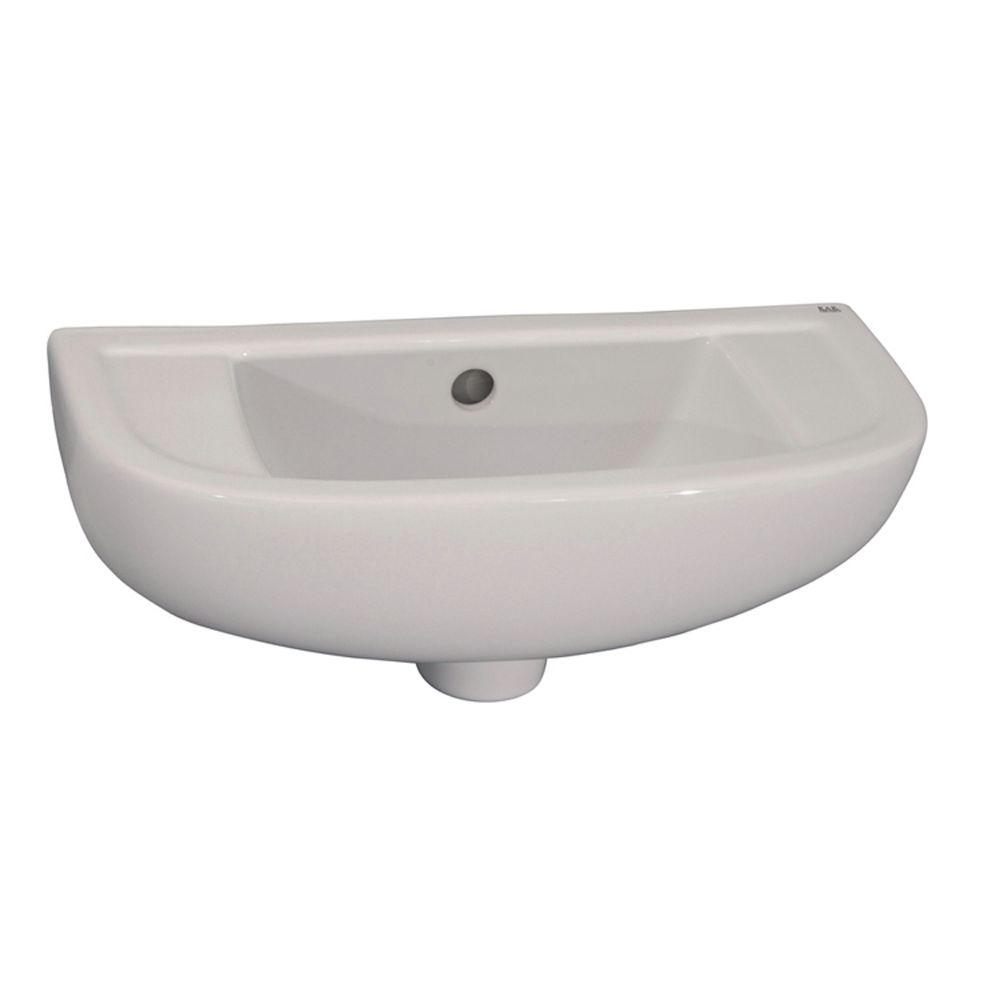 Compact Slim Line Wall-Mounted Bathroom Sink in White