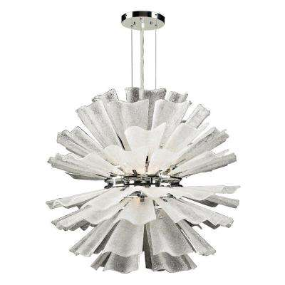 12-Light Polished Chrome Pendant with Frost Glass