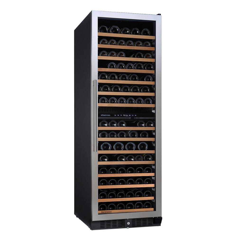 Wine Enthusiast N'FINITY PRO L 166-Bottle 23.75 in. Dual Zone Freestanding Wine Cellar, Stainless Steel Trim