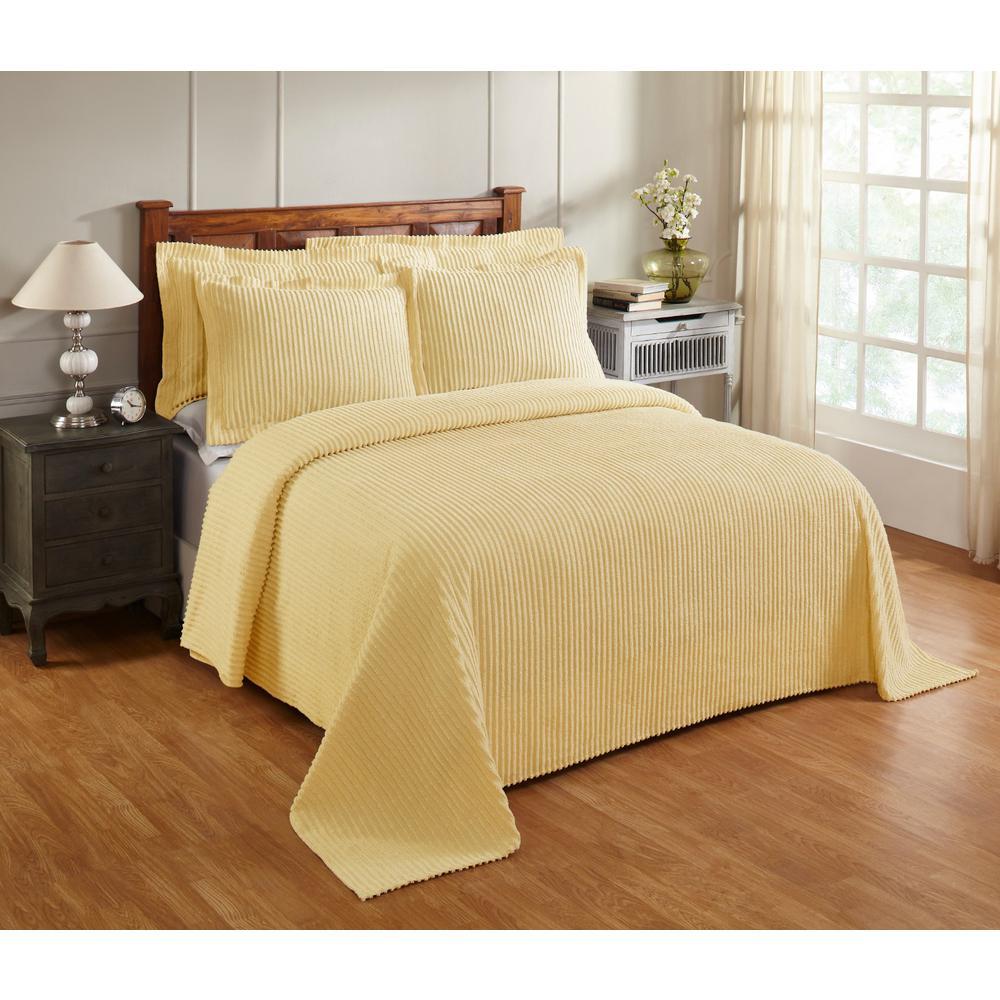 Aspen 81 in. x 110 in. Yellow Twin Bedspread