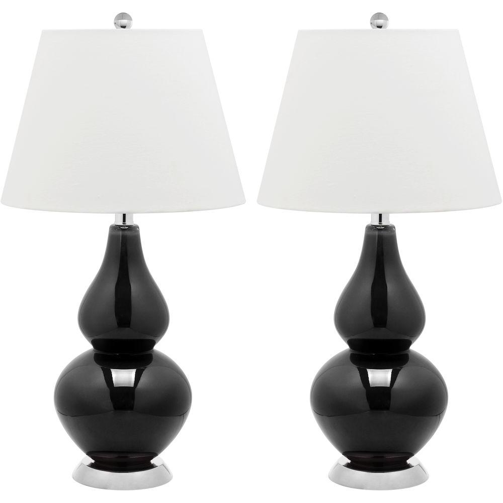 Safavieh Cybil 26 5 In Black Double Gourd Glass Lamp Set Of 2