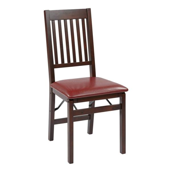 Red Faux Leather Seat Wood Frame Folding Chair (Set of 2)