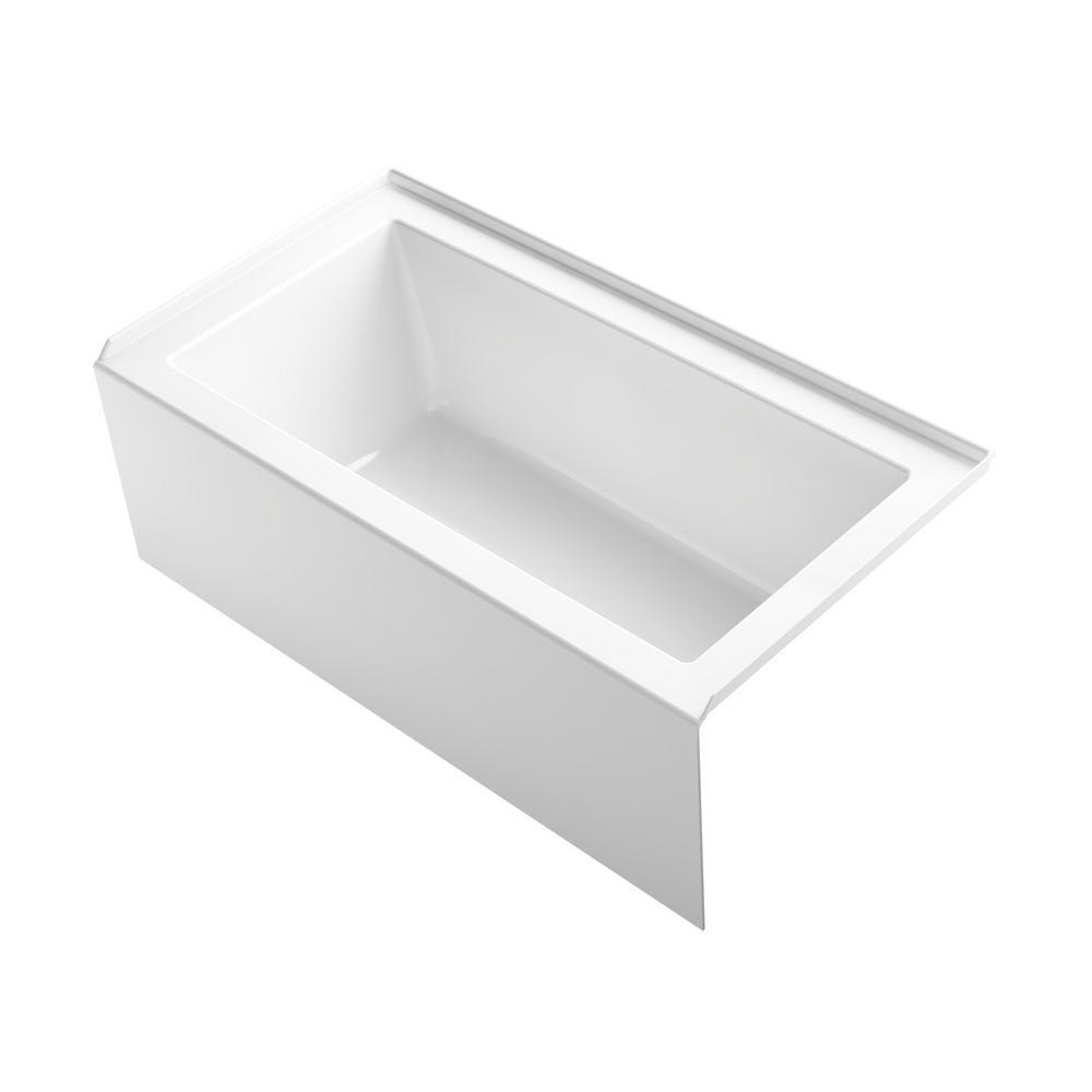 Underscore 60 in. Acrylic Right Drain Rectangular Alcove Bathtub in White