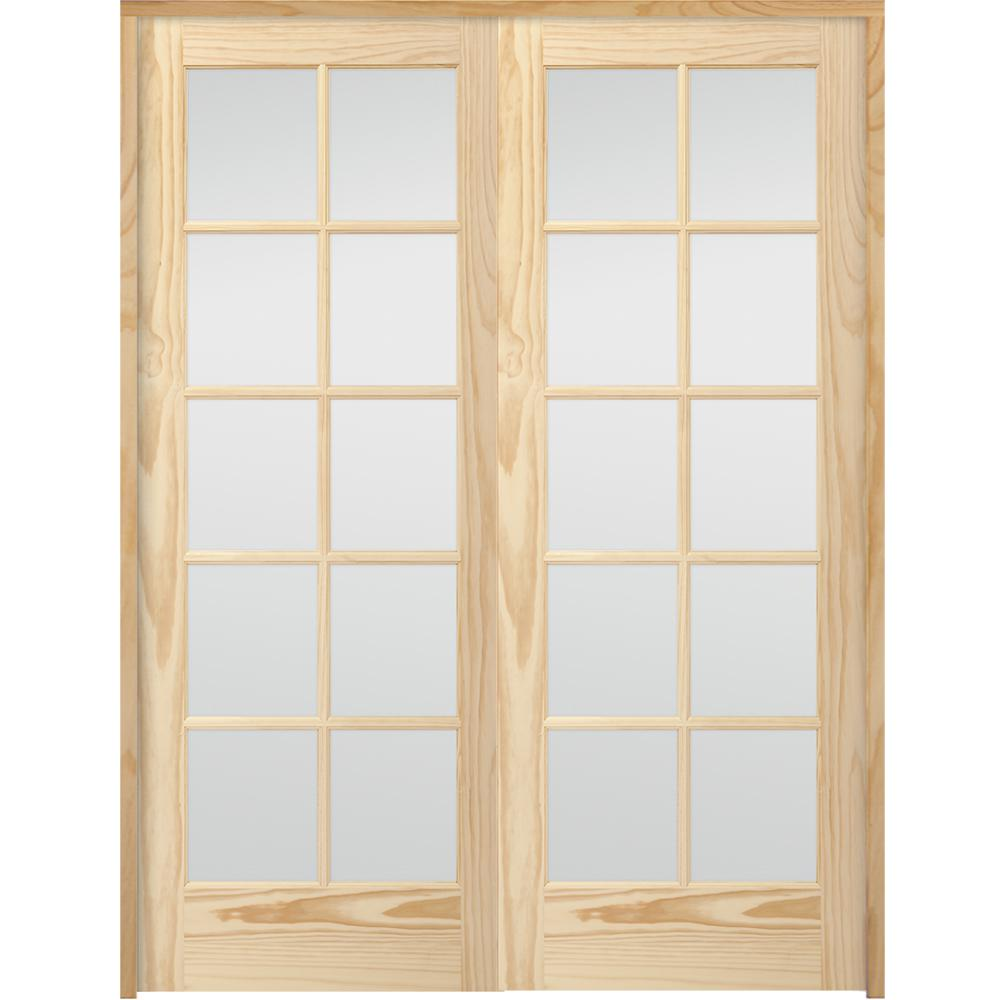 10 Lite French Unfinished Pine Solid Core Wood Double Prehung Interior Door With Bronze Hinges