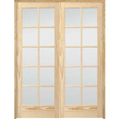 60 in. x 80 in. 10-Lite French Unfinished Pine Solid Core Wood Double Prehung Interior Door with Bronze Hinges