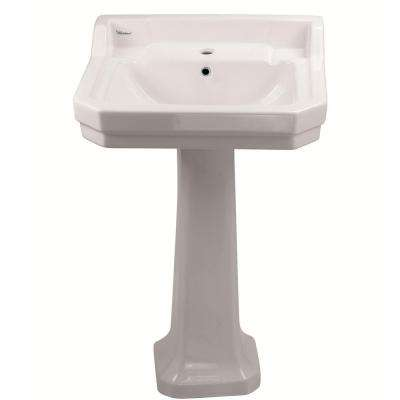 Isabella Collection 22 in. Lavatory Pedestal Combo Bathroom Sink with Single-Hole Drill in White