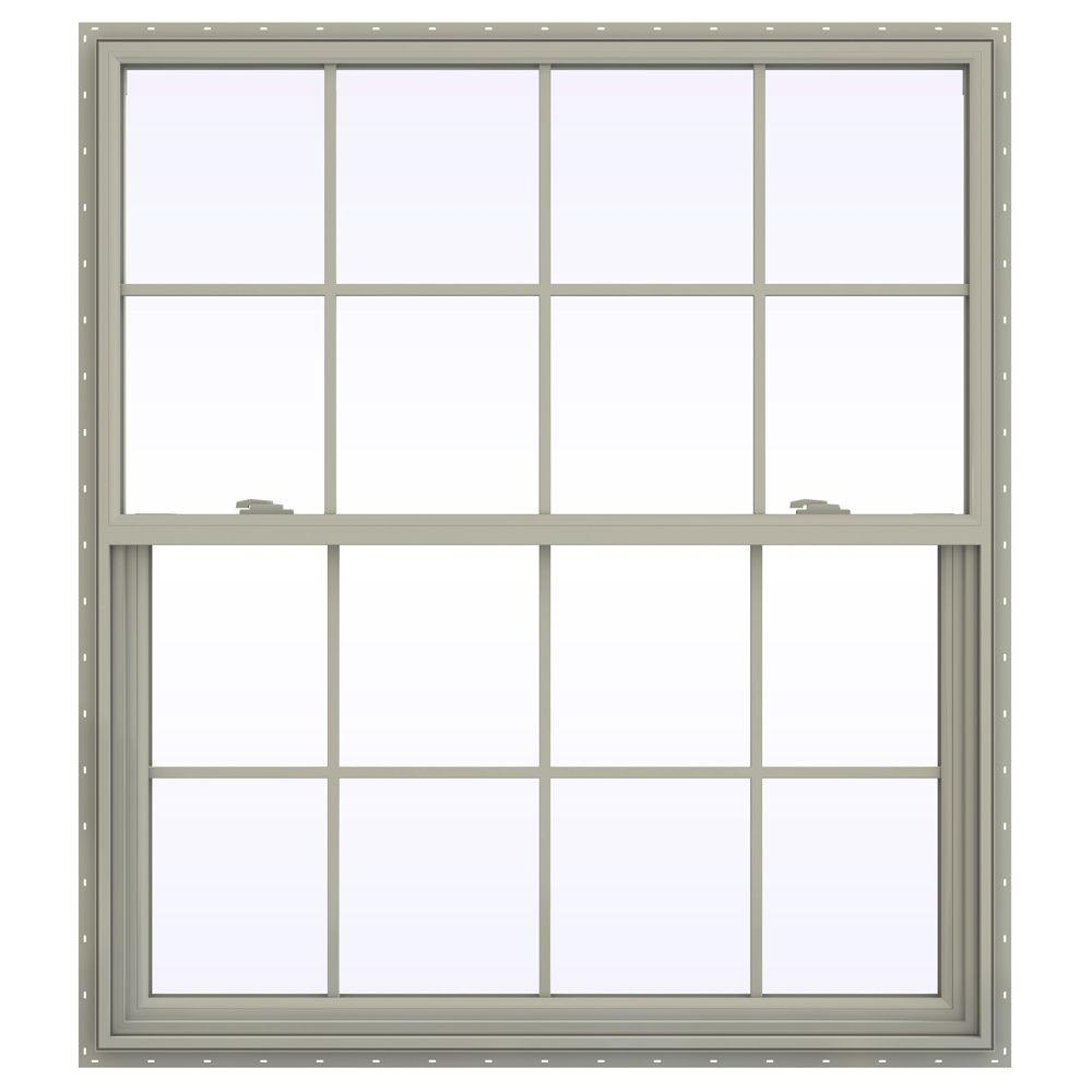 JELD-WEN 47.5 in. x 41.5 in. V-2500 Series Single Hung Vinyl Window with Grids - Tan