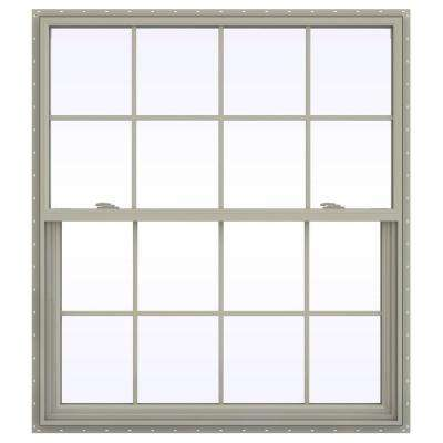 47.5 in. x 59.5 in. V-2500 Series Desert Sand Vinyl Single Hung Window with Colonial Grids/Grilles