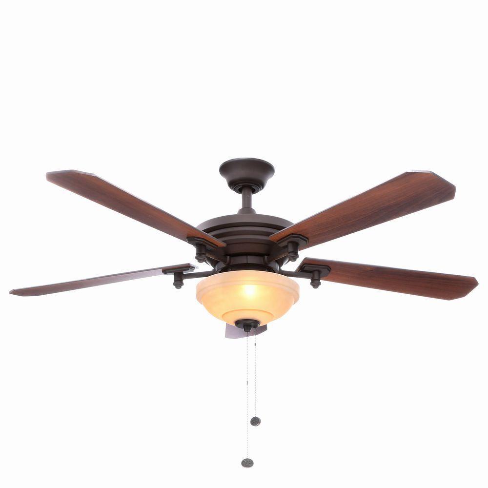 Hampton Bay Baxter II 52 in. Indoor Oil-Rubbed Bronze Ceiling Fan with Light Kit