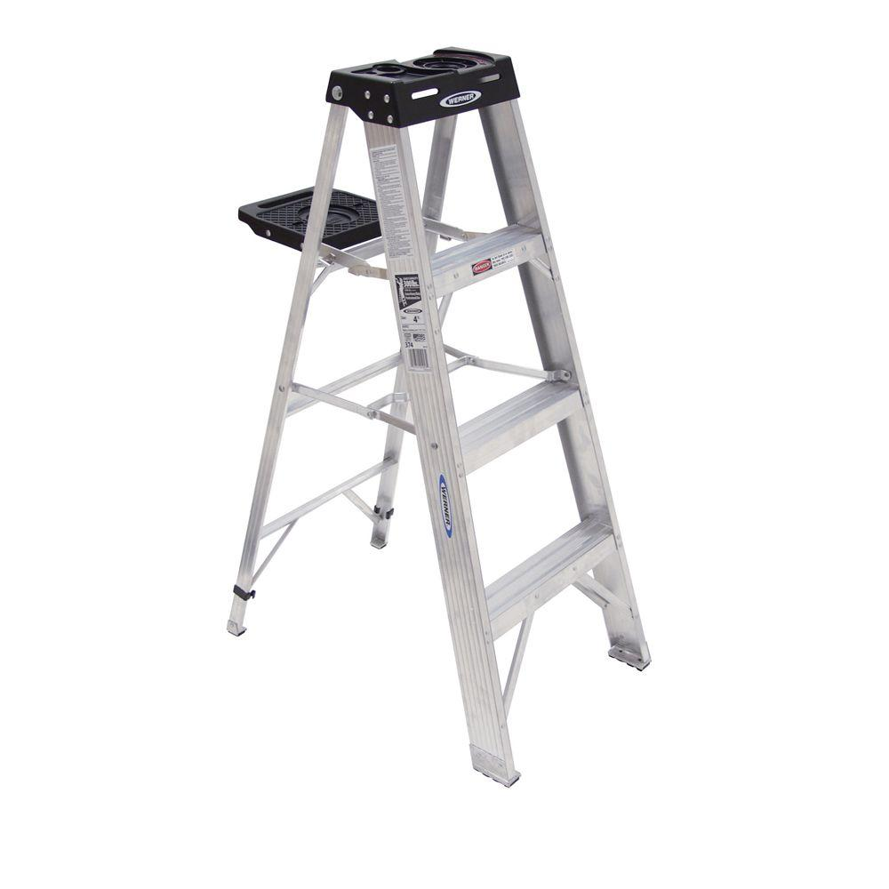 werner 4 ft aluminum step ladder with 300 lb load capacity type ia 374 the home depot. Black Bedroom Furniture Sets. Home Design Ideas