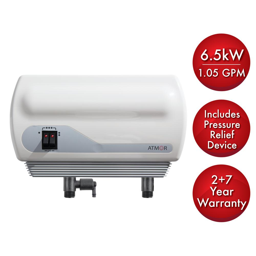 ATMOR 6.5kW/240-Volt 1.05 GPM Electric Tankless Water Heater with Pressure Relief Device, On Demand Water Heater