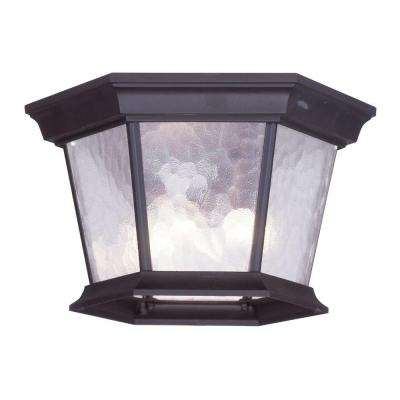 Providence Collection 3-Light 7.0 in. Bronze Outdoor Clear Water Glass Flushmount