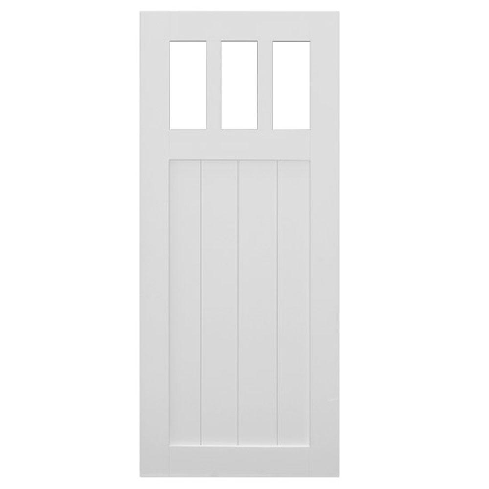 Quiet glide 36 in x 84 in 2 panel barn solid core finished pine interior door slab - Finished white interior doors ...