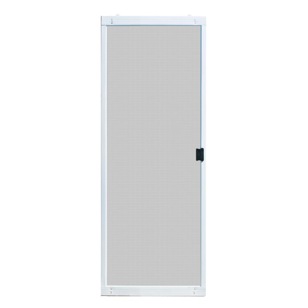 Unique Home Designs 30 In X 80 In Adjustable Fit White Metal Sliding Patio Screen Door Ispm500030wht The Home Depot