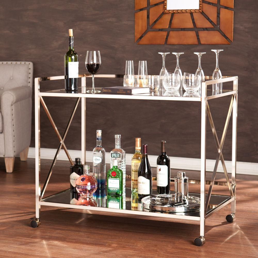 Southern Enterprises Olivia Bar Cart In Metallic Gold