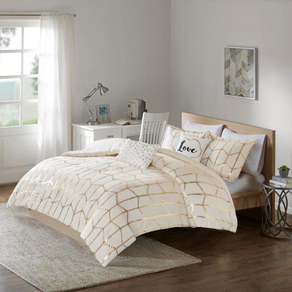 Intelligent Design Khloe 4-Piece Ivory/Gold Twin/Twin XL Geometric Comforter Set