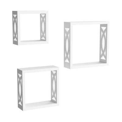 Decorative Floating Open Sided Cube Wall Shelves in White (Set of 3)