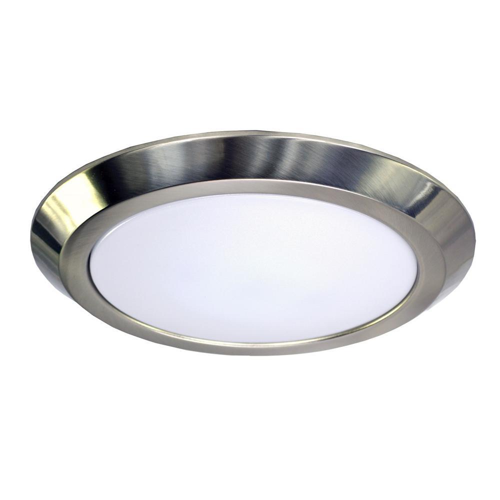 16 in. 25-Watt Brushed Nickel Integrated LED Flush Mount Disc Light