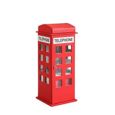 11.5 in. British Telephone Booth Red Leather Jewelry Box