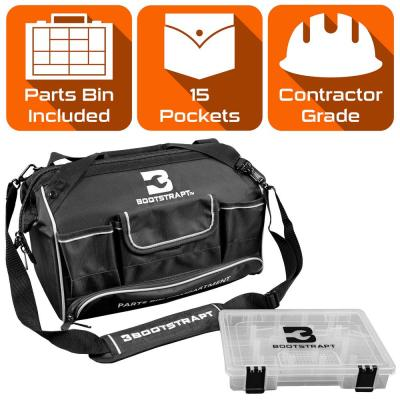 16 in. Large Mouth Tool Bag with Integrated Parts Bin Compartment