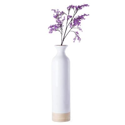 Glossy White Lacquer and Natural Bamboo Large Cylinder Shaped Tall Spun Bamboo Floor Vase