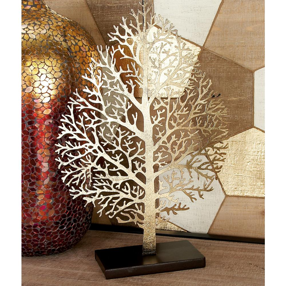 21 in. Iron Metal Gold Leaf with Cutout Veining Sculpture
