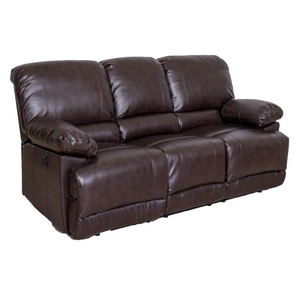CorLiving Lea Chocolate Brown Bonded Leather Power Reclining Sofa with USB