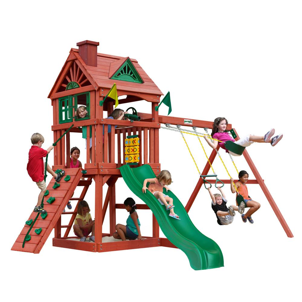 Gorilla Playsets Nantucket Wooden Swing Set with Slide and Rock Wall