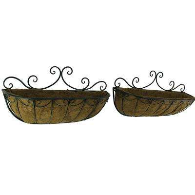 Decorative Metal Scroll Wall Planter with Coconut Fiber Liner (2-Piece Set)