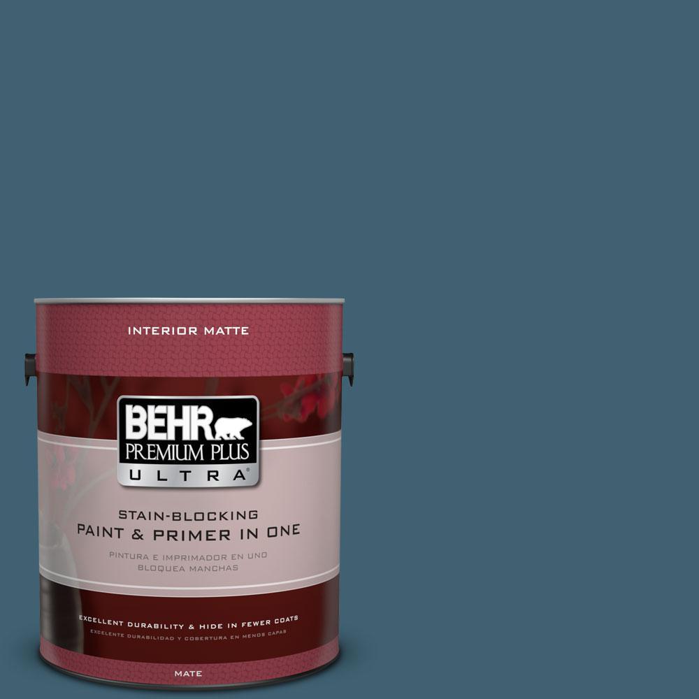 BEHR Premium Plus Ultra 1 gal. #PPU13-18 Bermudan Blue Flat/Matte Interior Paint