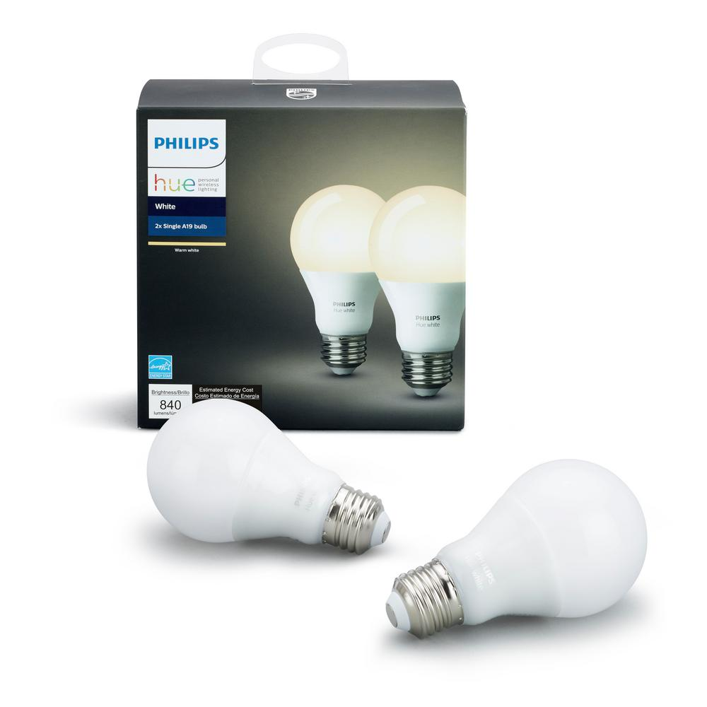 Philips Hue White A19 LED 60W Equivalent Dimmable Smart Wireless Bulb (2 Pack)