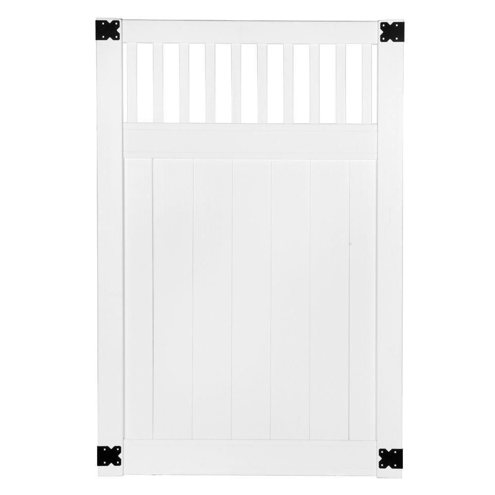 Veranda Pro Series 4 ft. W x 6 ft. H White Vinyl Woodbridge Closed Picket Top Privacy Fence Gate