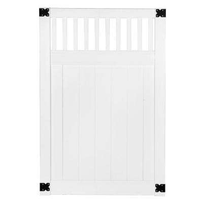 Pro Series 4 ft. W x 6 ft. H White Vinyl Woodbridge Closed Picket Top Privacy Fence Gate